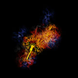 Fiery dandelion from musical notes. Dandelion from musical notes, covered in flames Royalty Free Stock Images