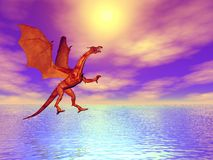 Fiery Dragon. Illustrated fiery dragon flying over the sea Royalty Free Stock Photos