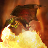 Fiery dragon. Flying fiery dragon in the dark sky. Illustration. 3D render Royalty Free Stock Images