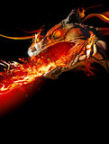 Fiery dragon stock illustration