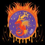 Fiery dragon in egg Royalty Free Stock Image