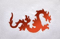 Fiery dragon on a frozen window. Royalty Free Stock Photo