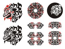 Fiery dragon head design. Haida dragon style tattoo, dragon frames and dragon circle Royalty Free Stock Image