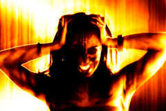 Fiery Evil Woman. Abstract illustration of a fiery and hellish looking evil woman Stock Image