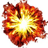 Fiery explosion. Computer generated illustration of ball of fire Royalty Free Stock Photos