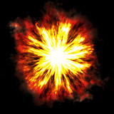 Fiery explosion. A fiery explosion busting over a black background Stock Photo
