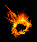 Fiery explosion on a black background. Stock Photography