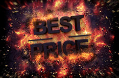 Fiery explosive poster template for Best Price Stock Photography