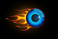 Fiery Eye. Illustration eye ball with fire flame on abstract background Stock Photo