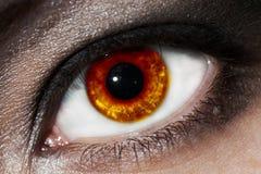 Fiery eye. Female fiery eye closeup with gothic makeup. beautiful eye royalty free stock image