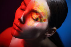 Fiery eye makeup - energy and passion. Stock Images