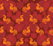 Fiery fantastic cockerel pattern. Fiery rooster - a symbol of new 2017 on the Chinese horoscope. Seamless pattern Stock Image