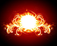 Fiery floral frame. On a red background Stock Image
