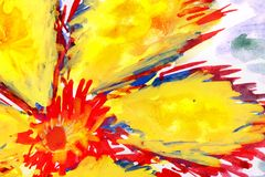 Fiery flower. watercolor drawing. On paper Royalty Free Stock Photos