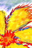 Fiery flower. watercolor drawing Stock Photography