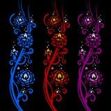Fiery flowers. Floral pattern Stock Image