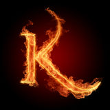 Fiery font. The letter with effect of fire Stock Image