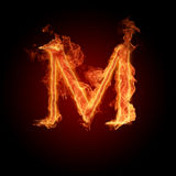 Fiery font. The letter with effect of fire Stock Photo