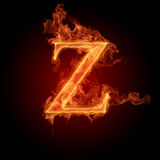 Fiery font. The letter with effect of fire Stock Images