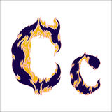 Fiery font blue letter C on a white background. Font blue letter C on a white background Royalty Free Stock Images