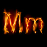 Fiery font. Letter M. Illustration on black background Royalty Free Stock Photos