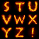 Fiery Font Set. Bright flamy font symbol. For writing words use Screen blending mode Royalty Free Stock Photography