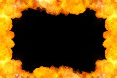 Fiery frame background on black. With copy space Royalty Free Stock Photo