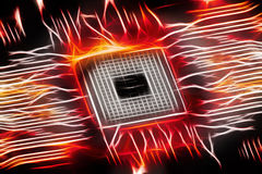Fiery glowing cpu on motherboard, computer generated abstract ba. Ckground, 3D rendering Royalty Free Stock Photography