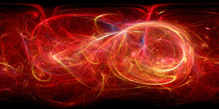 Fiery glowing curves 360 degrees fractal panorama. Computer generated abstract background, 3D rendering Royalty Free Stock Images