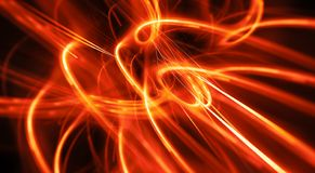 Fiery glowing energy curves in space abstract background stock photography