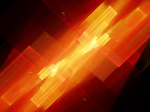 Fiery glowing flying rectangles fractal. New technology, computer generated abstract background, 3D render Stock Photo