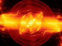 Fiery glowing fusion with plasma force field. Fiery glowing fusion in space, plasma force field, computer generated abstract background, 3D rendering Royalty Free Stock Image