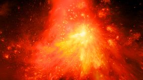 Fiery glowing nebula in space. Fiery glowing ethereal plasma flame in space, computer generated abstract background, 3D rendering Royalty Free Stock Image
