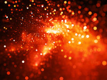 Fiery glowing nebula with stars in bokeh, depth of field Stock Photography