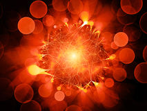Fiery glowing network connections with circular bokeh. Computer generated abstract background, 3D rendering Royalty Free Stock Images