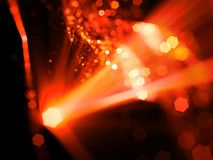 Fiery glowing source with rays and multidimensional rectangles i. N space, innovated technology, computer generated abstract background, 3D rendering Stock Photo