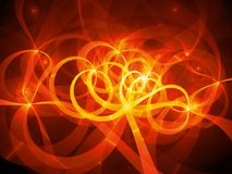 Fiery glowing spaghetti curves in space. Computer generated abstract background, 3D rendering Royalty Free Stock Image