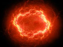 Fiery glowing spherical high energy plasma lightning in space. Computer generated abstract background, 3D rendering Royalty Free Stock Photos