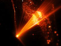 Fiery glowing star shape source with rays and multidimensional r. Ectangles in space, futuristic technology, computer generated abstract background, 3D rendering Royalty Free Stock Images