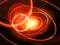 Fiery glowing trajectories in space concept. Computer generated abstract background, 3D rendering Stock Photos