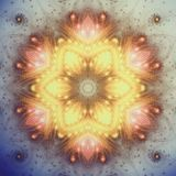 Fiery gold fractal mandala. Digital artwork for creative graphic design Stock Photo