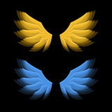 Fiery Golden and Blue Wings on Black Background. Vector. Illustration Stock Images