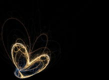 Fiery golden heart of flue lines. Fractal background stock photography