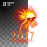 Fiery Golden Rooster. Head Fiery Cockerel On Transparent Background Symbol Chinese New Two Thousand Seventeen Stock Images