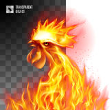 Fiery Golden Rooster. Rooster Head Fiery On Transparent Background Symbol twenty-seventeen Stock Photography