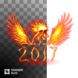 Fiery Golden Rooster. Head Fiery Golden Rooster On Transparent Background Symbol twenty-seventeen Stock Photography