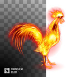 Fiery Golden Rooster. On Transparent Background Symbol Chinese New Two Thousand Seventeen Stock Photo