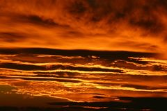 Fiery Grand Canyon Sunset. A fiery sunset in the Grand Canyon stock photography