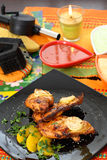 Fiery grilled chicken. Stock Photos