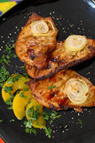 Fiery grilled chicken. Stock Photo
